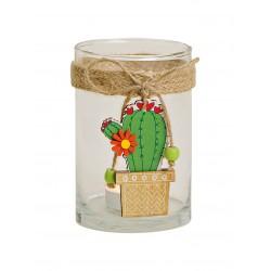 3738 Photophore en verre transparente avec pendentif de cactus