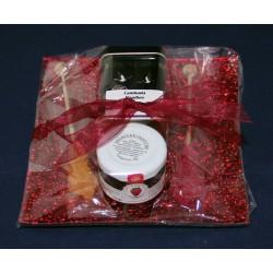 5690 Cadeau avec assiette en verre, thé, confiture et sticks de sucre cristallisé
